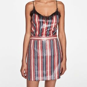 Zara NWOT Striped Sequin Mini Skirt Size Medium